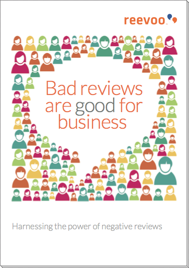 The cover of the ebook 'Bad reviews are good for business'